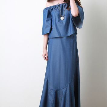Chambray High Waisted Asymmetrical Seam Maxi Skirt