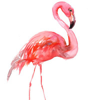 Flamingo, Original watercolor painting, 12 X 9 in, pink flamingo wall art, flamingo lover painting