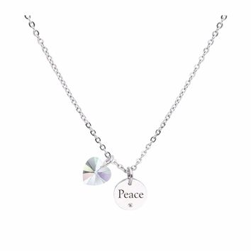 Dainty Inspirational Necklace made with Crystals from Swarovski  - PEACE