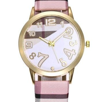 Faux Leather Band Plaid Print Watch