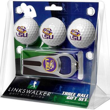LSU Tigers Collegiate Hat Trick Divot Tool 3 ProVictory Ball Gift Pack