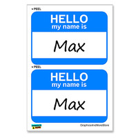 Max Hello My Name Is - Sheet of 2 Stickers