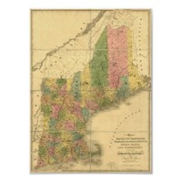 Vintage 1839  New England Map Posters from Zazzle.com