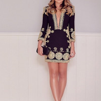 Deep V-Neck Long-Sleeve Printe Slim Dress