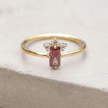 Baguette Crown Ring - Gold + Pink
