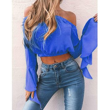 Crop top sexy off shoulder bell sleeves bold colored top ~ 5 colors! ~ Plus size