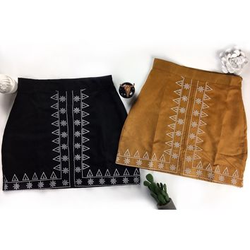 Southwest Embroidered Faux Suede Skirt