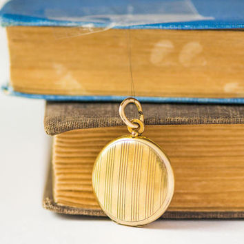 Antique Gold Shade Locket. Delicate Stripes Locket Pendant 2 photos inside. Engraved Locket Love Gift. DIY Memorial Jewelry Locket Wedding