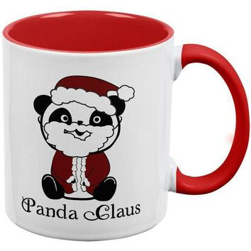 CREYCY8 Christmas Panda Claus Santa Red Handle Coffee Mug