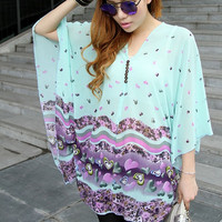 2015 New Plus size Women Summer For pregnant Women Chiffon T-shirt Batwing Sleeves Loose Tops Casual Oversized Blouse (Size: XL, Color: Blue) = 1946950148