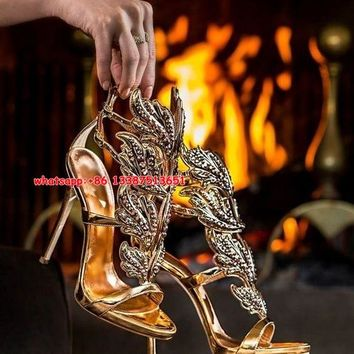 Unlimited's Leaves Sandals Women 2017 New Fashion Summer Stiletto Party Wedding Shoes Plus Size 10 Angel Wings Pumps