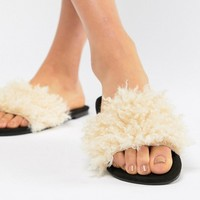 ASOS DESIGN Fuzz Faux Fur Sliders at asos.com