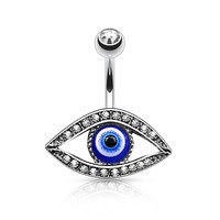 Lucky Eye Belly Ring Silver Navel Ring Body Jewelry Piercing Jewelry 14ga
