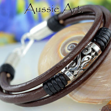 AB-012 Finely Handmade Solid Sterling Silver & Leather Men ANKLET Bracelet .