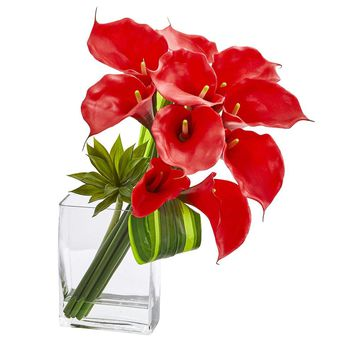 Silk Flowers -20 Inch Red Calla Lily And Succulent Bouquet Arrangement