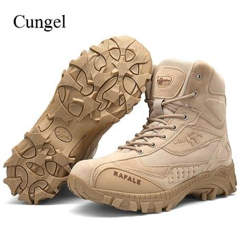 Cungel Military Tactical boots Men Army Combat Outdoor Hiking Shoes breathable Anti-skid Boots Shoes Trekking Mountain Climbing