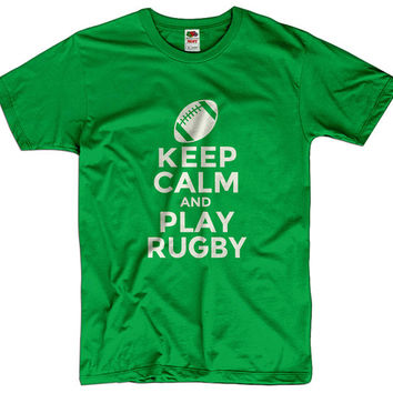 Keep Calm And Play Rugby Men Women Ladies Funny Joke Geek Clothes T shirt Tee Gift Present