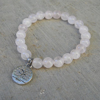 Healing and wisdom, Genuine rose quartz gemstone mala bracelet with tree of life charm