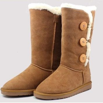 ca DCCKTM4 2016 New Women lady girl australia high genuine Leather Snow warm winter not Ugglis triply button Boots Shoes motorcycle boots [8400785927]