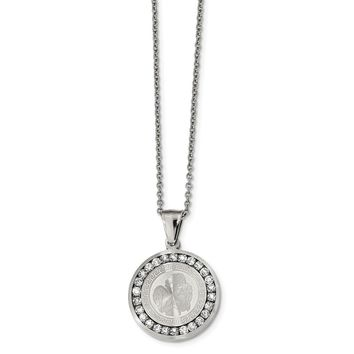 Stainless Steel Polished and Laser Cut with CZ Angel Necklace 22in