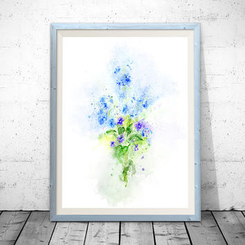 Flower wall decor, Baby blue nursery art, Pastel blue decor, Light blue Baby room art, Nursery room decor, Baby art print, Watercolor Art