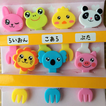 Cute Animal Cupcake Topper & Bento Food Decoration Forks from Japan - Pig, Lion, Chick, Rabbit, Frog, Panda and Koala - Decoben