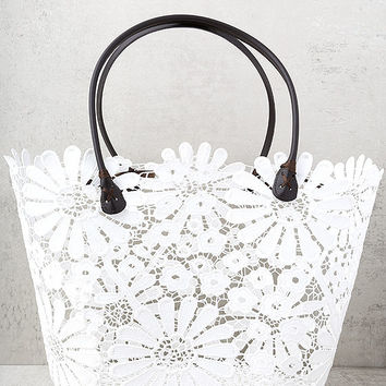 For All to Sea White Crochet Lace Tote