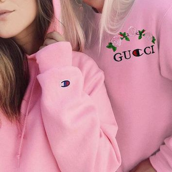 GUCCI x Champion Flower Rose Print Top Sweater Pullover Hoodie