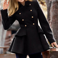 Peter Pan Collar Button Design Flare Wool Coat