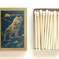 Roaring Lion Matchbox - The Animal Story Book - Andrew Lang - Paper Art - Tiny Gift - Pair with a Candle - Light a Mystical Spark