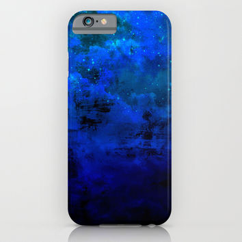 SECOND STAR TO THE RIGHT Rich Indigo Navy Blue Starry Night Sky Galaxy Clouds Fantasy Abstract Art iPhone & iPod Case by EbiEmporium