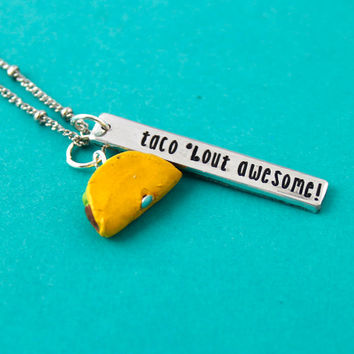 Taco Necklace - Taco Bout Awesome - Pun Jewelry - Gift For Her - Junk Food - Food Jewelry