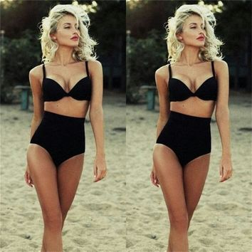New Summer Solid Black Cutest Retro Swimsuit Swimwear Vintage Pin Up High Waist Bikini Set Femme