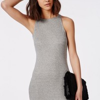 Missguided - Racer Back Ribbed Bodycon Dress Grey