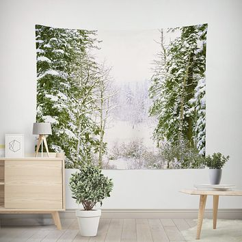 Colorado Snowy Forest Wall Tapestry