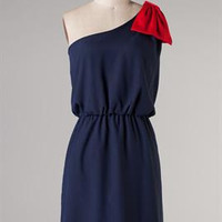 Game Day Red and Navy Asymetrical Bow Dress