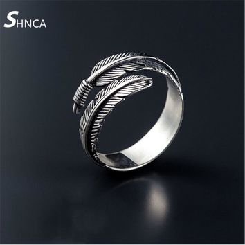 Vintage High-Quality 925 Silver Jewelry Feathers Arrow Opening Rings For Women Sterling-Silver-Jewelry Dropshipping R062