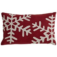 Chainstitch Snowflake Pillow - Red$34.95