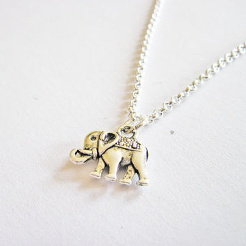 Tiny Silver Elephant Necklace, Little Dainty elephant Charm on Silver Chain, silver Necklace elephant jewelry personalized necklace initial