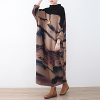 Johnature Women Vintage Dress 2018 Spring New Full Sleeve Plus Size Women Clothes Quality Robe Bat Sleeve Turtleneck Maxi Dress -in Dresses from Women's Clothing & Accessories on Aliexpress.com | Alibaba Group