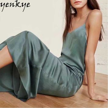 Summer Maxi Long Dress Solid Color Satin Sling Dress Fashion Women Sleeveless Club Sexy Dress