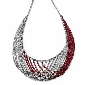 Sterling Silver Rhodium & Red Plated Multi Strand Necklace w/2in ext