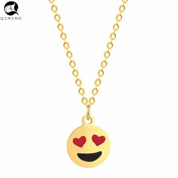 QIMING Love Heart Eyes Emoji Smile Face Pendant Necklace Women Gold Choker N Jewelry Gifts a Variety of Expressions Charm