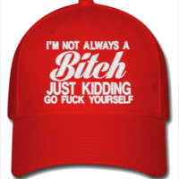 I AM NOT ALWAYS A BITCH JUST KIDDING GO FUCK YOUR SELF Embroidery - Flexfit Baseball Cap