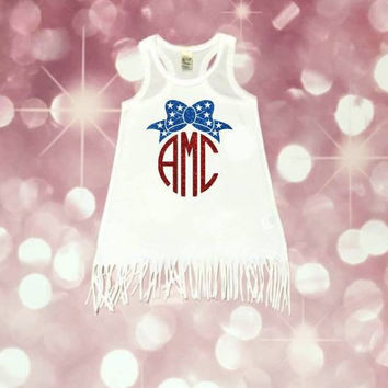 Girls 4th of July Dress, Girl's Monogram Dress, Holiday Monogram, Patriotic Dress, Fourth of July Dress, 4th of July, Red White And Blue