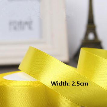 High-quality 2.5cm Width Satin Ribbons Wedding Party Decoration Gift Craft Sewing art Fabric Ribbon Cloth Tape DIY -1 Yard/pcs