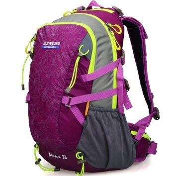 Doleesune Outdoor Hiking Daypacks Climbing Cycling Backpack Hiking Backpacking Packs Waterproof Mountaineering Bag 35l 8103 (Purple)
