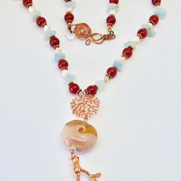 Carnelian red Necklace, Peach Necklace, Rust Necklace, Lampwork and Copper, Contemporary Art  Beach Jewelry, Ocean Lover,  Mothers Day Gift
