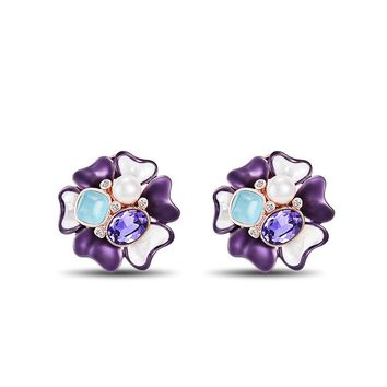 Viennois Rose Gold Color Flower Stud Earrings Simulated Pearl Purple Crystal