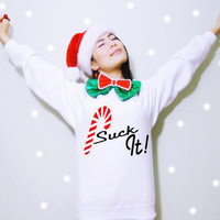 Candy cane Suck it Funny Saying Christmas Holiday Fleece Sweatshirt (Ugly sweater)